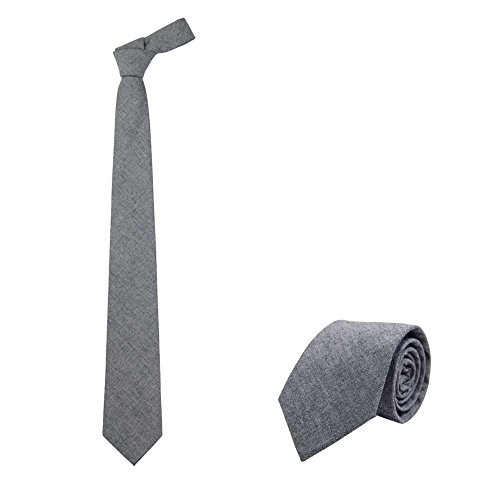 Jnjstella Men's Cotton Solid Necktie Classic Tie Dark Gray (Mens Cotton Ties compare prices)
