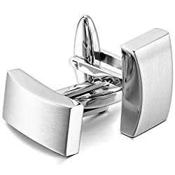 Silver Black 2 PCS Stainless Steel Cufflinks