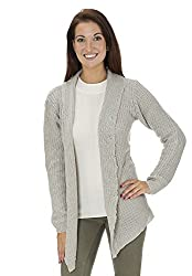(14215R) Classic Designs Womens Cotton Blend Shawl Collar Shrug Sweater (S-3X) in Gray Size: M