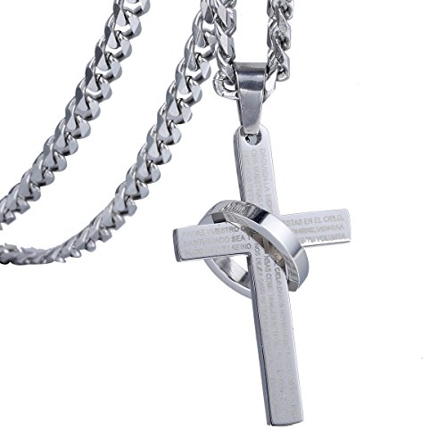 Trendsmax Mens Boys Silver Tone Stainless Steel Bible Scriptures Cross Pendant with Silver Tone Ring +Necklace