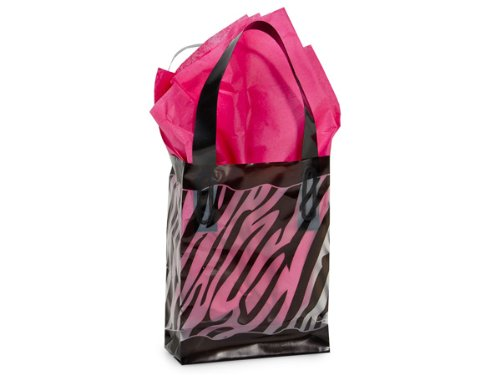 "Black & Clear Zebra Plastic Shopper Gift Bag 3 Mil Hd Plastic 4X2X5-1/4"" - Quantity Of 25 front-348397"