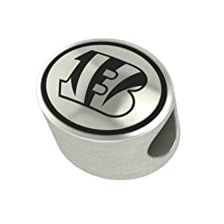 Cincinnati Bengals Silver NFL Bead Fits Most European Style Charm Bracelets