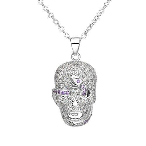 EVER FAITH® Cancella collana del pendente argento 925 CZ Halloween Gothic Skull viola del serpente delle donne