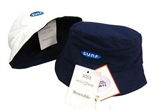 marks-spencer-reversible-bleu-blanche-soleil-mer-surf-plage-chapeau-solar-reflets-casquette-18-24-mo