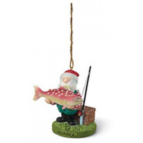 Santa w/ Big Fish Salmon Ornament