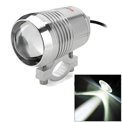AUDEW 12V 30W Universel LED Moto U2 Spot Phares Brouillard Lumière Forte/Faible Argent