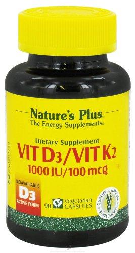 Nature'S Plus Vitamin D3 1000 Iu And Vitamin K2 100 Mcg 90Vc