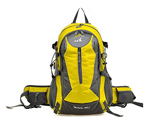 Zerd 40L Unisex Waterproof Outdoor Camping Travel Backpack Outdoor Hiking Daypacks Climbing Cycling Bag Waterproof Mountaineering Yellow