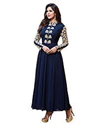 Fashion Fire Women's Blue Embroidered Georgette Unstitched Dress Material