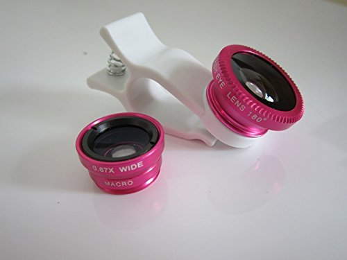 Shopping_Shop2000 3-In-1 Universal Clip 180 Degree Fish Eye Lens + Wide Angle + Micro Lens Kit For Iphone 4 4S 4G 5 5G 5S 5C Samsung Galaxy S3 I9300 S4 I9500 S5 I9600 Note 3 N9000 Lg Blackberry Motorola Sony Cell Phone (Hotpink / White)