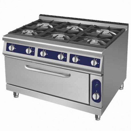 cuisinière à gaz, 6 brûleurs, 1 four maxi à gaz