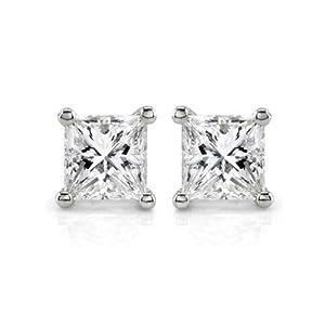 Elegant 0.74cts Princess Cut Diamond Studs in 14K White Gold