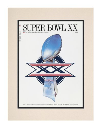 1986 Bears Vs Patriots 10 1/2 X 14 Matted Super Bowl Xx Program