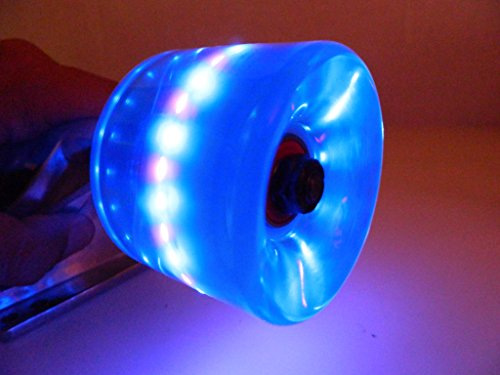 70mm Longboard Cruiser LED Light Up Clear Wheels + ABEC 7 Bearings (Clear Blue)