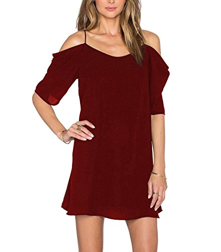 Womens Chiffon Cut Out Cold Shoulder Spaghetti Strap Mini Dress Top, Wine, X - Large