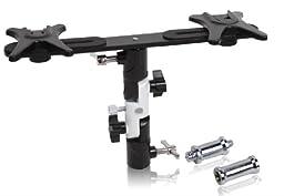 FINEX Full aluminum OM-28 Pro Flash Hot Shoe with dual (2) flash mount head Umbrella Holder adapter mount with Swivel/Tilt Bracket 3 section U shape for Nikon and Canon Speedlight 430EX 580EX SB600 SB800 SB900 Yongnuo YN560 YN568EX YN565EX
