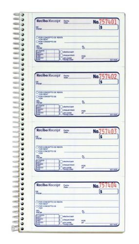 Adams Recibo Renta o Dinero, Spanish Language Rent or Money Receipt Book, 2-Part, Carbonless, 200 Sets/Book, 4 Receipts/Page (SC1152S)