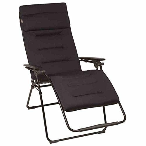 Lafuma - LFM3051-6135 - Futura Air Comfort, Sedia a sdraio pieghevole, imbottita, regolabile in diverse posizioni, colore: Nero