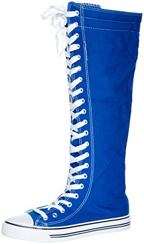 West Blvd Women'S Tall Canvas Lace Up Knee High Sneakers Blue 7.5