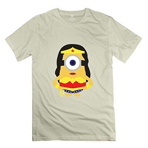 HX-Kingdom Men's Awesome Tshirt - Wonder Woman Minions Natural