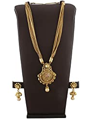Anuradha Art Golden Finish Styled With Studded & Sparkling Stone Classy Long Necklace Set For Women/Girls