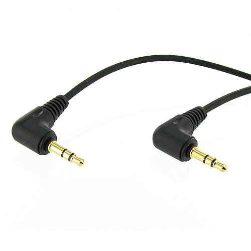 6 inch 3.5mm Male Right Angle to 3.5mm Male Right Angle Gold Stereo Audio Cable, Nylon Reinforced, Premium Quality Cable