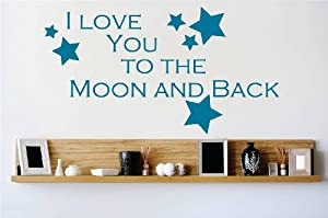 decal vinyl wall sticker i love you to the moon and. Black Bedroom Furniture Sets. Home Design Ideas