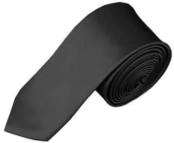 eFashionsquare Cravate ultramince de 5,3 cm, couleur solide - Gris acier