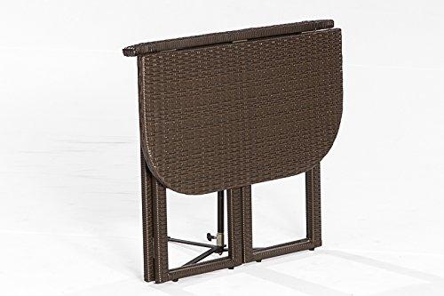 Balkon – Klapptisch GRAZ 90x50cm, Stahlgestell + Polyrattan Geflecht braun jetzt bestellen