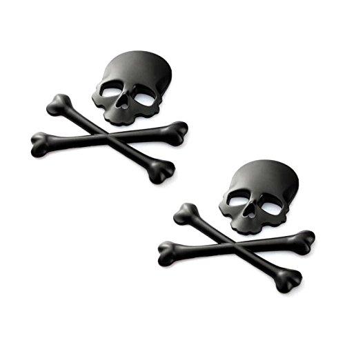2pcs B035-B Black Motorcycle Skull Bone Emblem Metal Decal 3D Sticker for Suzuki Kawasaki Harley Yamaha Honda (Harley Metal Emblem Sticker compare prices)