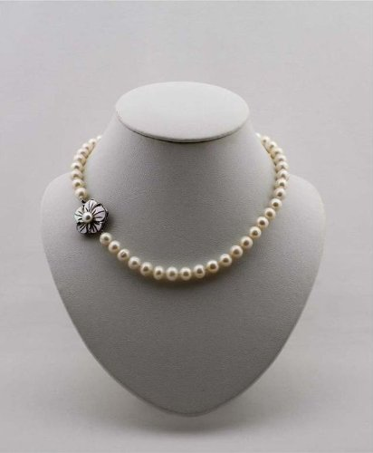 Pearl Necklace White 17-Inch Cultured Freshwater Pearls 9-10mm, EE-201