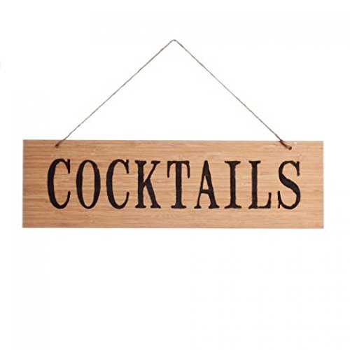 Koyal Wholesale Rustic Natural Wood Arrow Wedding Sign, Cocktails front-324935