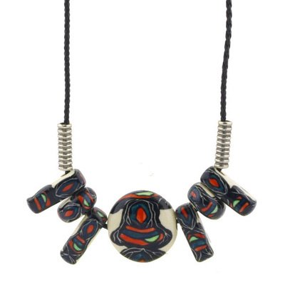 Polmedia Polish Pottery 24-Inch Stoneware Necklace H0324G Hand Painted From Manufaktura In Boleslawiec Poland. Shape S136E(26B) Pattern P4207A(Mix)