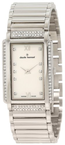 Claude Bernard Women's 20079 3P NAP Classic Ladies Pink Pearlized Rectangular Crystal Watch