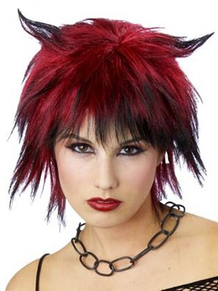 Red Black Shag Wig Form Devil Horn Pixie Cut Gothic Hallloween Costume Accessory