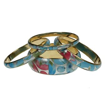 Set of 4 brass bangles with coloured flower pattern design 565-GW (TURQUOISE SILVER PINK)