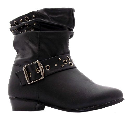 Platino Girls Verity Black Buckle Zip Up Ankle Boots