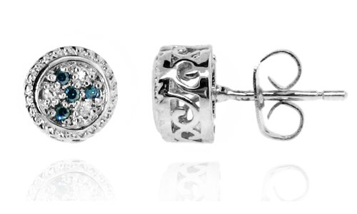 Sterling Silver 925 Genuine Blue Diamond Accents .06cts (Color H-I, Clarity I3) Round Stud Earrings