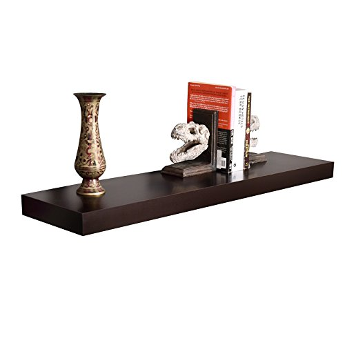 WELLAND 36-Inch Mission Floating Wall Shelf, Espresso