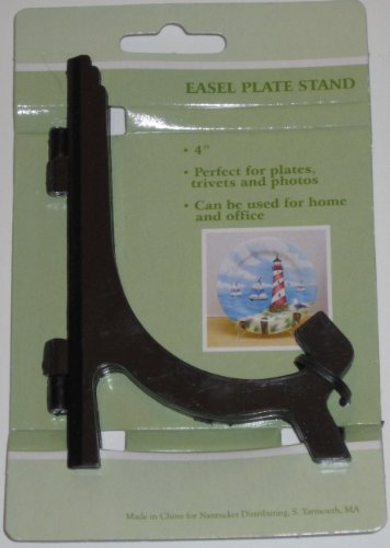 4 Inch Plastic Easel Plate Stand, Black