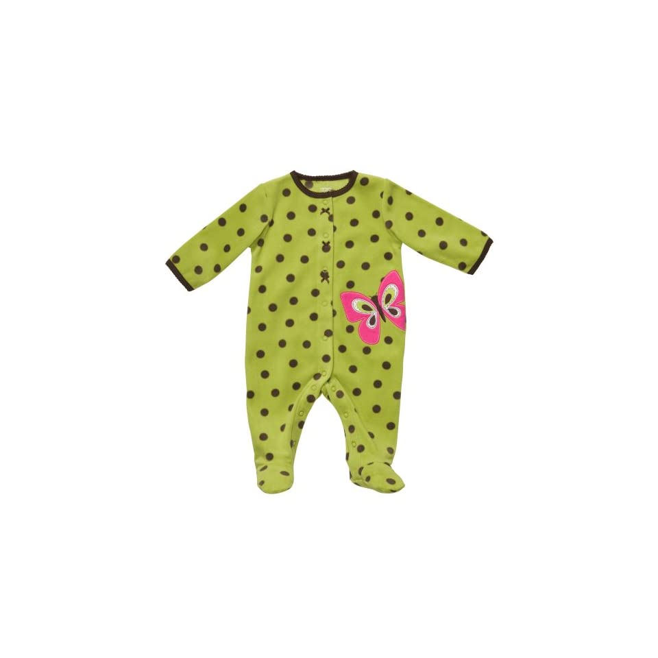 Carters Baby Girls One Piece Polka Dot Butterfly Polyester Micro Fleece Footed Easy Entry Sleep and Play (3 Months)
