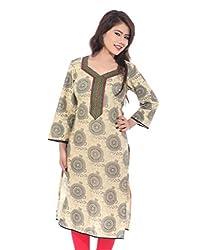 Lal Chhadi Women's Black color 3/4 Sleeve Verli Printed Cotton Kurta