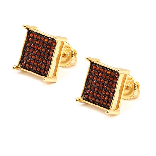 Mens 14K Gold Plated Red Iced Out 7 Row Cz Micro Pave Hip Hop Large Table Corner Stud Earrings Screw Backs