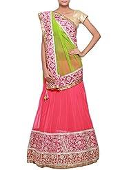 Kalkifashion Half and half lehenga saree in green and pink enhanced in pin tucks and aari only on Kalki