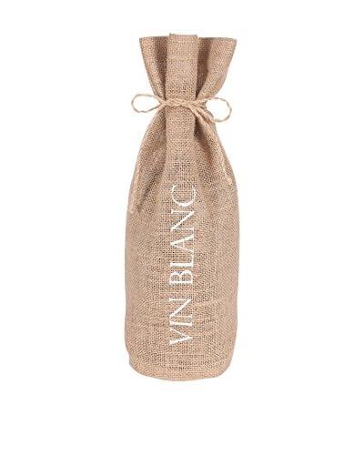 KAF Home Vin Blanc Drawstring Wine Bag, White