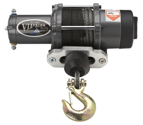 Viper Elite 3500Lb Atv Winch & Custom Mount For Polaris Ranger Full Size With Black Amsteel®-Blue Synthetic Rope