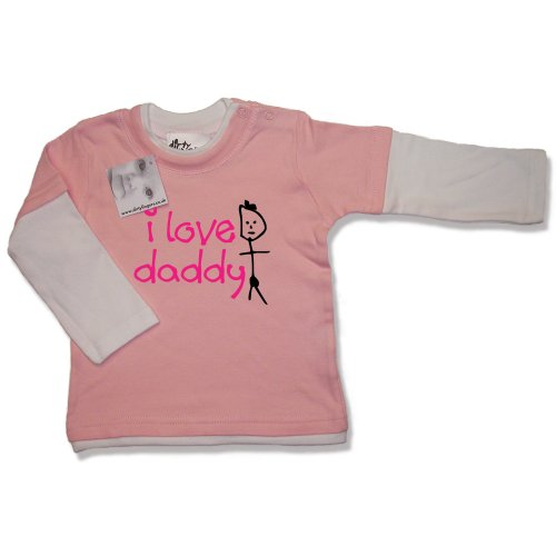 Dirty Fingers  I Love daddy  Baby & Toddler, Layered, Long Sleeve Skater T-shirt, 6-12 months, Pink/White