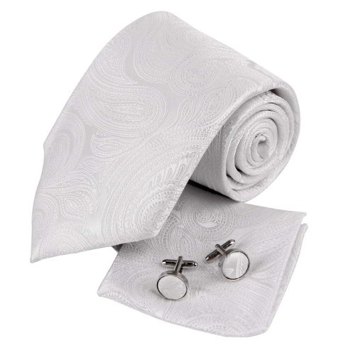 H5123 White Paisleys Gift For Business Silk Tie Cufflinks Hanky Gift Creative Set 3PT By Y&G