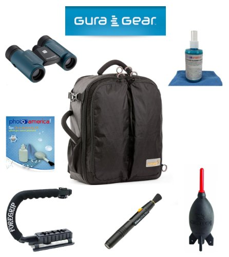 Gura Gear Kiboko 22L+ Backpack (Black) For Sony Slt A99/A33/A55/A35/A65/A77/A57/A37/A58 + Foregrip + Nikon Lens Pen Cleaning System + Giotto'S Air Blower + Cleaning Kit + Lcd Screen Protectors + Olympus Waterproof Binoculars