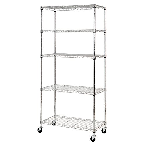 Sandusky MWS361872 5-Tier Mobile Wire Shelving Unit with 3